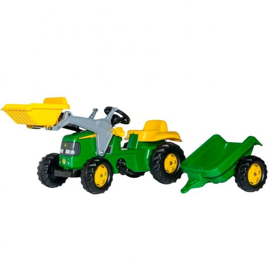 Tractor a pedal JOHN DEERE + pala + remolque - Juguete - Rolly Toys 023110