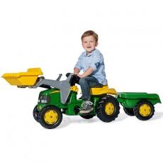 TRACTOR A PEDAL JOHN DEERE CON PALA Y REMOLQUE - Juguete - Rolly Toys 023110  con niño
