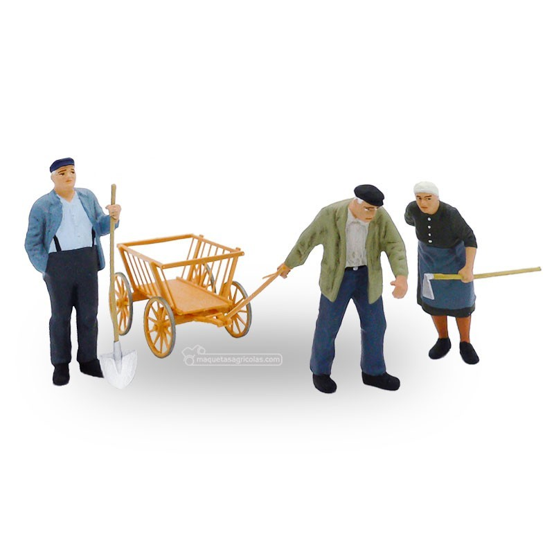 Campesinos con carretilla (2 hombres y 1 mujer) - Miniatura 1:32 - Presier 63078
