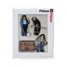 Campesinos con carretilla (2 hombres y 1 mujer) - Miniatura 1:32 - Presier 63078 embalaje