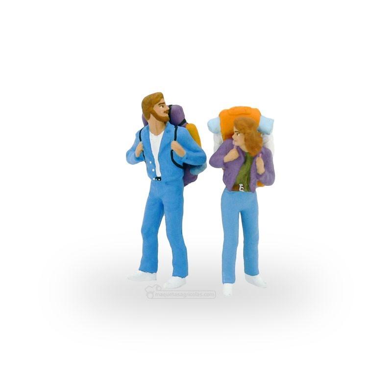 Excursionistas con mochila (hombre y mujer) - Miniatura 1:32 - Presier 63072