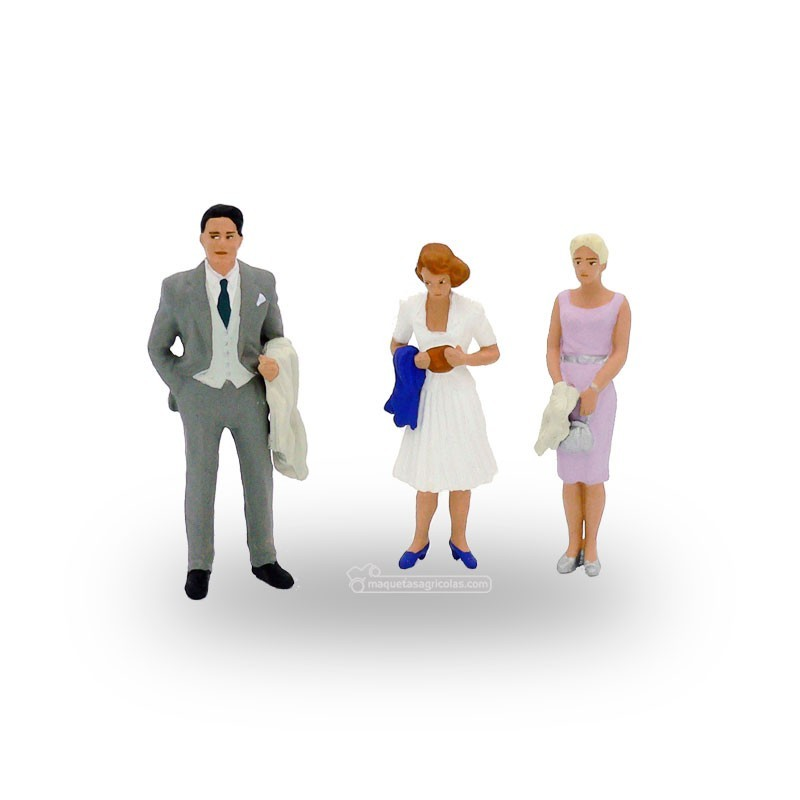 Transeúntes bien vestidos (2 mujeres y 1 hombre) - Miniatura 1:32 - Presier 63068