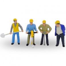 Trabajador de la construcción de vías (4 hombres)  - Miniatura 1:32 - Presier 63065