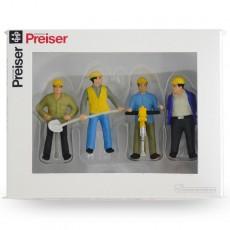 Trabajador de la construcción de vías (4 hombres)  - Miniatura 1:32 - Presier 63065 caja