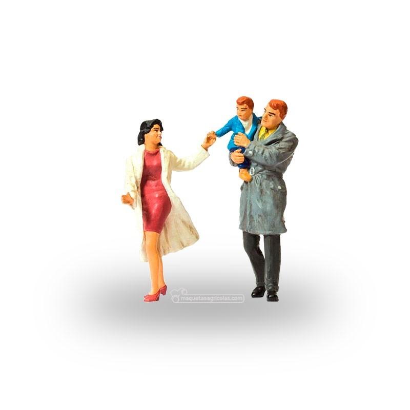 Pareja con niño - Miniatura 1:32 - Presier 63096