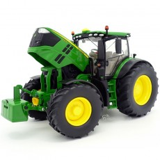 Tractor John Deere 6250R - Miniatura 1:32 - Wiking 077836 capó abierto