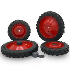 Kit 4 ruedas de cultivo  (ruedas metal rojas + tapas) - Miniatura 1:32 - FM 37017R