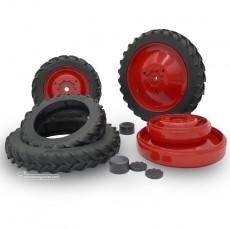 Kit 4 ruedas de cultivo  (ruedas metal rojas + tapas) - Miniatura 1:32 - FM 37017R despieze