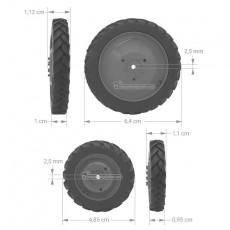Kit 4 ruedas de cultivo  (ruedas metal rojas + tapas) - Miniatura 1:32 - FM 37017R medidas