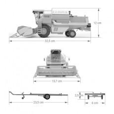 Cosechadora cereal CLAAS 88S - Miniatura 1:32 -  Replicagri REP169 dimensiones