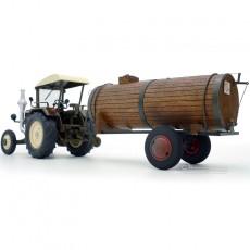 Tractor Lanz Bulldog con techo y cuba de estiércol - Miniatura 1:32 - Schuco 450769900 perfil posterior izquierdo