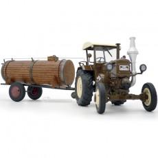 Tractor Lanz Bulldog con techo y cuba de estiércol - Miniatura 1:32 - Schuco 450769900 primer plano tractor