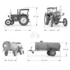 Tractor Lanz Bulldog con techo y cuba de estiércol - Miniatura 1:32 - Schuco 450769900 medidas
