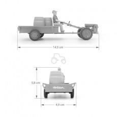 Motocultor con carro y conductor - *Ed. limitada - Miniatura 1:32 - Schuco 89520 medidas