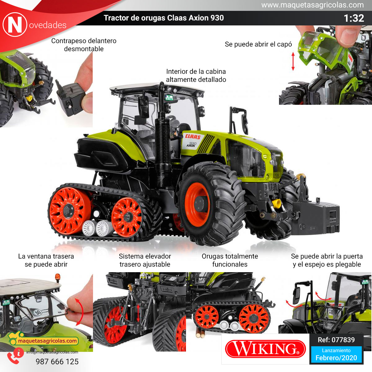 Tractor Claas Axion 930 de Wiking Ref: 077839