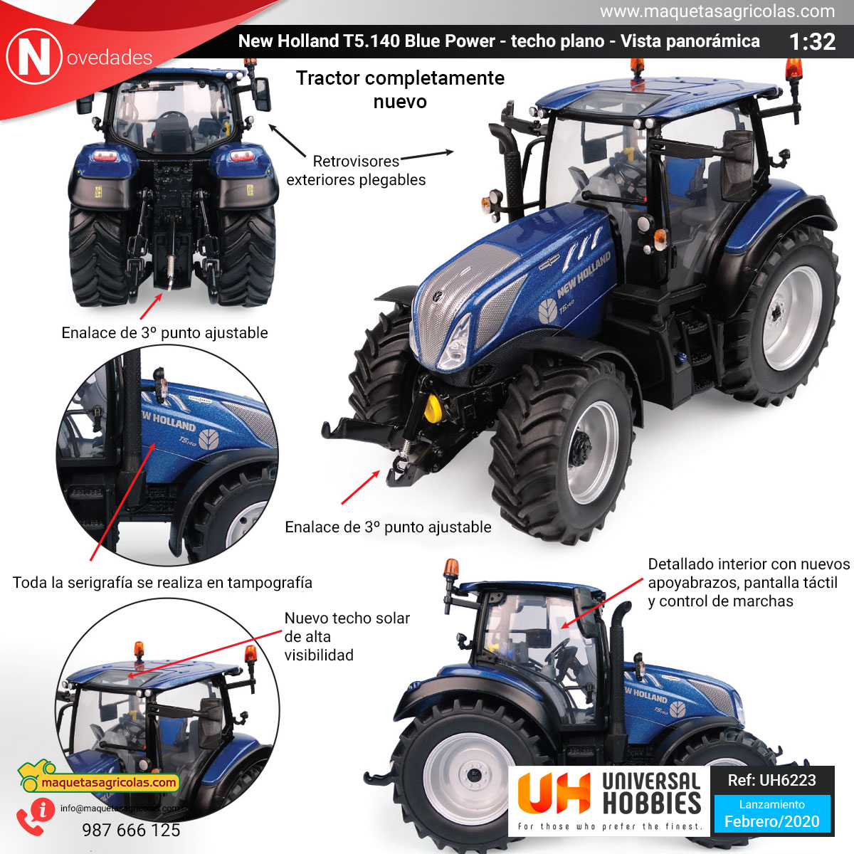 New Holland T5.140 Blue Power con techo panorámico